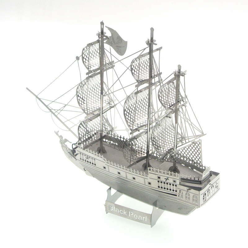 Metal 3D assembly model Black Pearl pirate ship model Increase edition Assembly model(China (Mainland))
