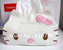 Wholesale - home / cute hello kitty leather tissue extraction / KT towel sets / Car Tissue Box-30pcs(China (Mainland))