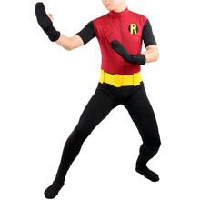 Robin costume adult Halloween costumes for men batman SuperHero cosplay Spandex Zentai party  bodySuit zentai with cape custom