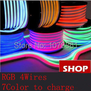 SMD5050 RGB LED Neon Flex RGB 4wires 7color to charge Red 80LED/M F5 Epistar DIP white led neon RGB strip Green LED Jacket strip(China (Mainland))