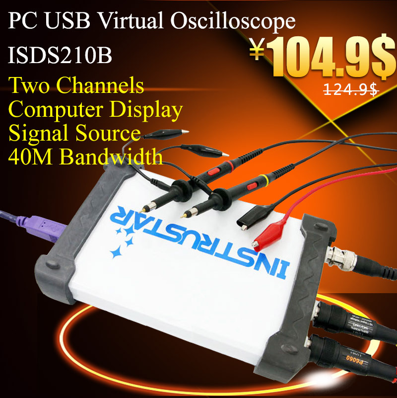 Free shipping ISDS210B Virtual PC USB oscilloscope with DDS Signal source generator 100M sample rate 40M bandwith(China (Mainland))