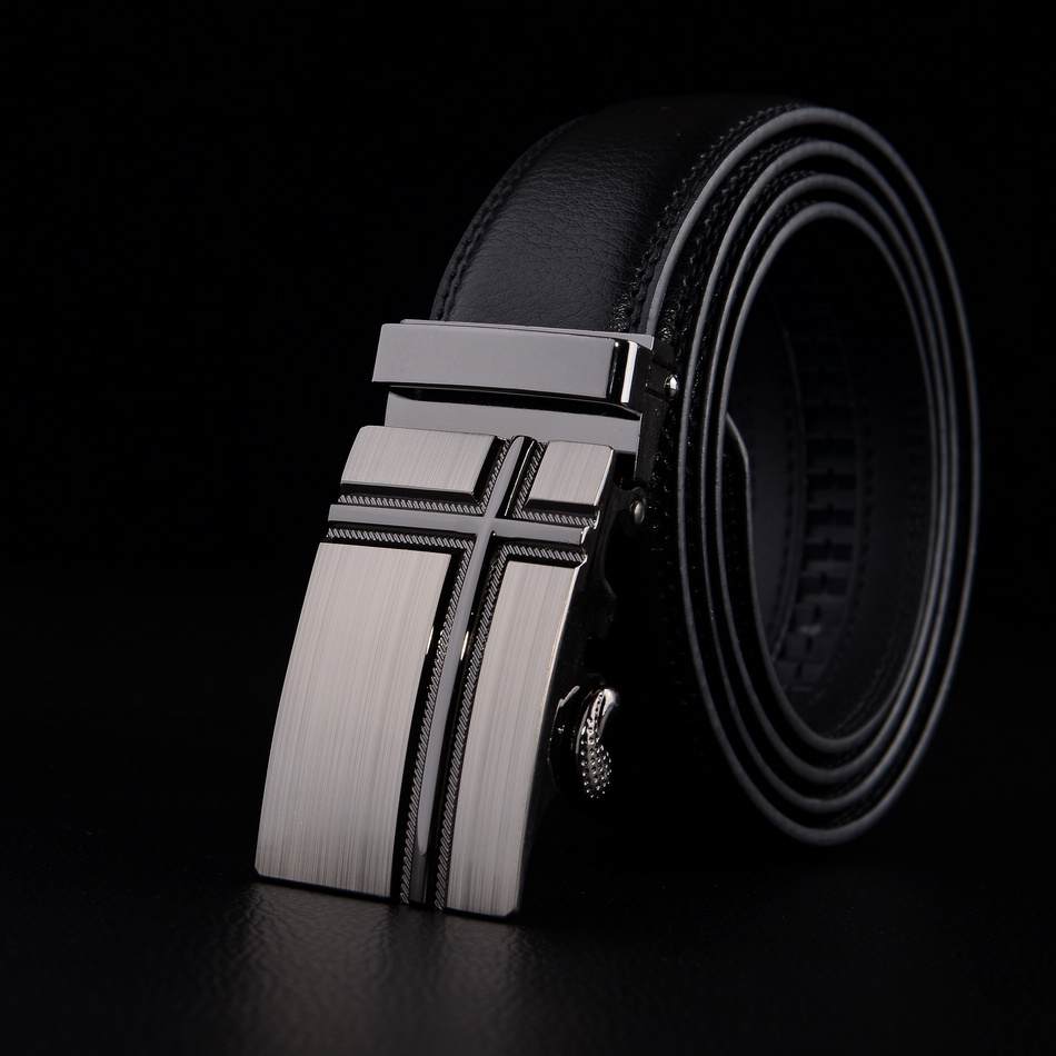 2014 fashion men's belt plus size Leather automatic buckle belts elegant luxury brand black belts lengh 130cm high quality(China (Mainland))