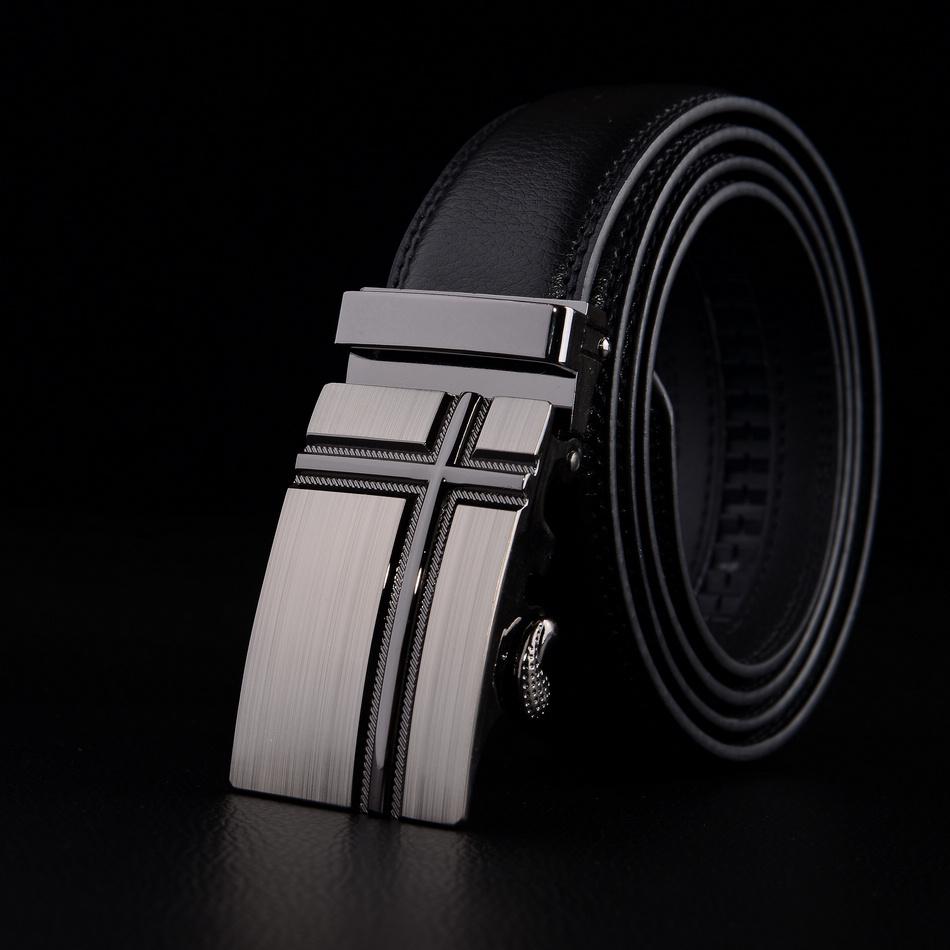 2014 fashion men's belt plus size Leather automatic buckle belts elegant luxury brand black belts lengh 130cm high quality(China (Mainland))