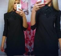 мед moda женщин работа износ новой моды сексуальное платье половину длинный рукав платья кружева