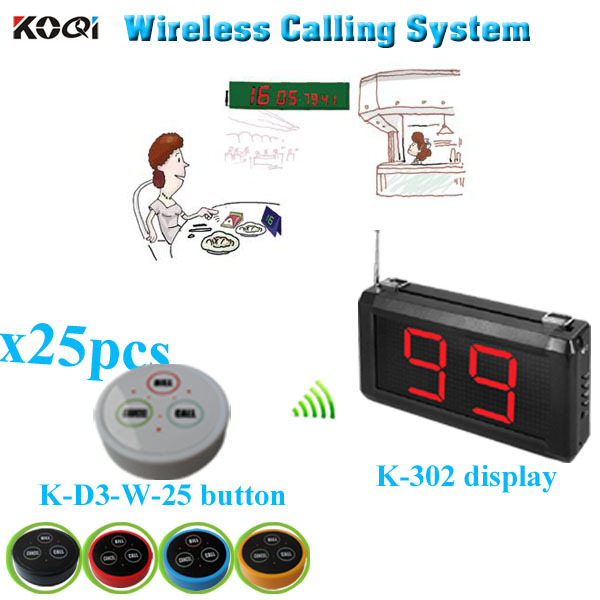 Restaurant Table Pager System with K-302 monitor K- D-3 transmitter button (1 display+ 25 table bell button)(China (Mainland))