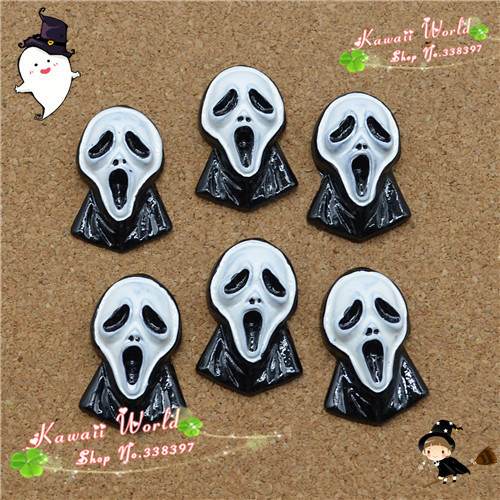 20*30mm100pcs/lot Resin cute halloween ghost mask Cabochon Flat Back for decoration free shipping(China (Mainland))