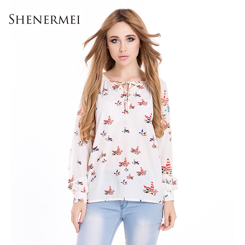 2014 New Fashion Ladies Eelegant Floral Print Blouse V Neck Casual Vintage Shirt Slim Chiffon Blouses Brand Designer Tops Blusas(China (Mainland))