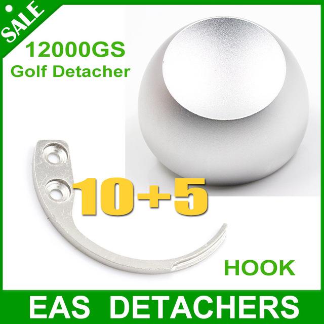 DHl shipping 10pcs hook detacher eas hook +5pcs universal magnetic detacher golf detacher 12000gs