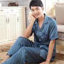 2016 New Silk Pyjamas Set  Sleepwear Cardigan Mens Silk Pajamas Set Short Sleeve Trousers Plus Size XXXL Pajamas (China (Mainland))