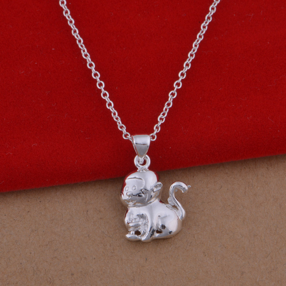 Trade jewelry wholesale 925 sterling silver necklace European and American popular Zodiac Monkey necklace large spot(China (Mainland))