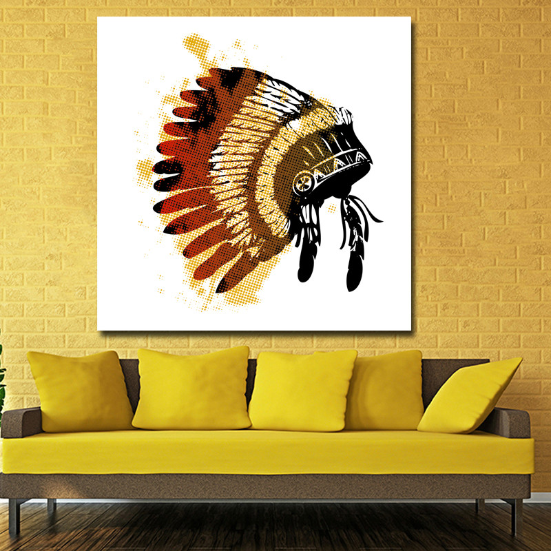 Special Hat With Feathers Oil Painting Print On Canvas Modern Abstract Painting Wall Art Pictures For Hotel Decoration No Framed