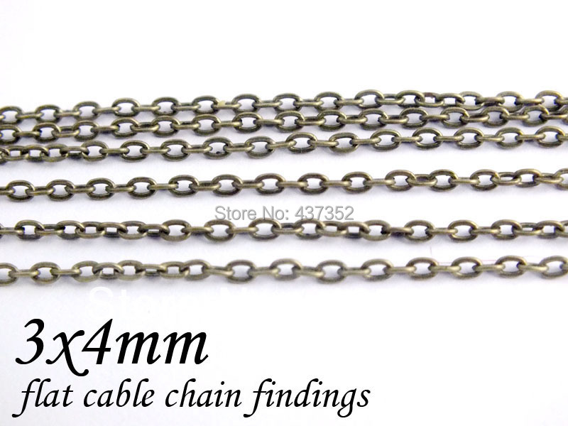 100m Antique Bronze Tone Metal Jewelry Link Cable Chains Findings 3x4mm Free shipping<br><br>Aliexpress
