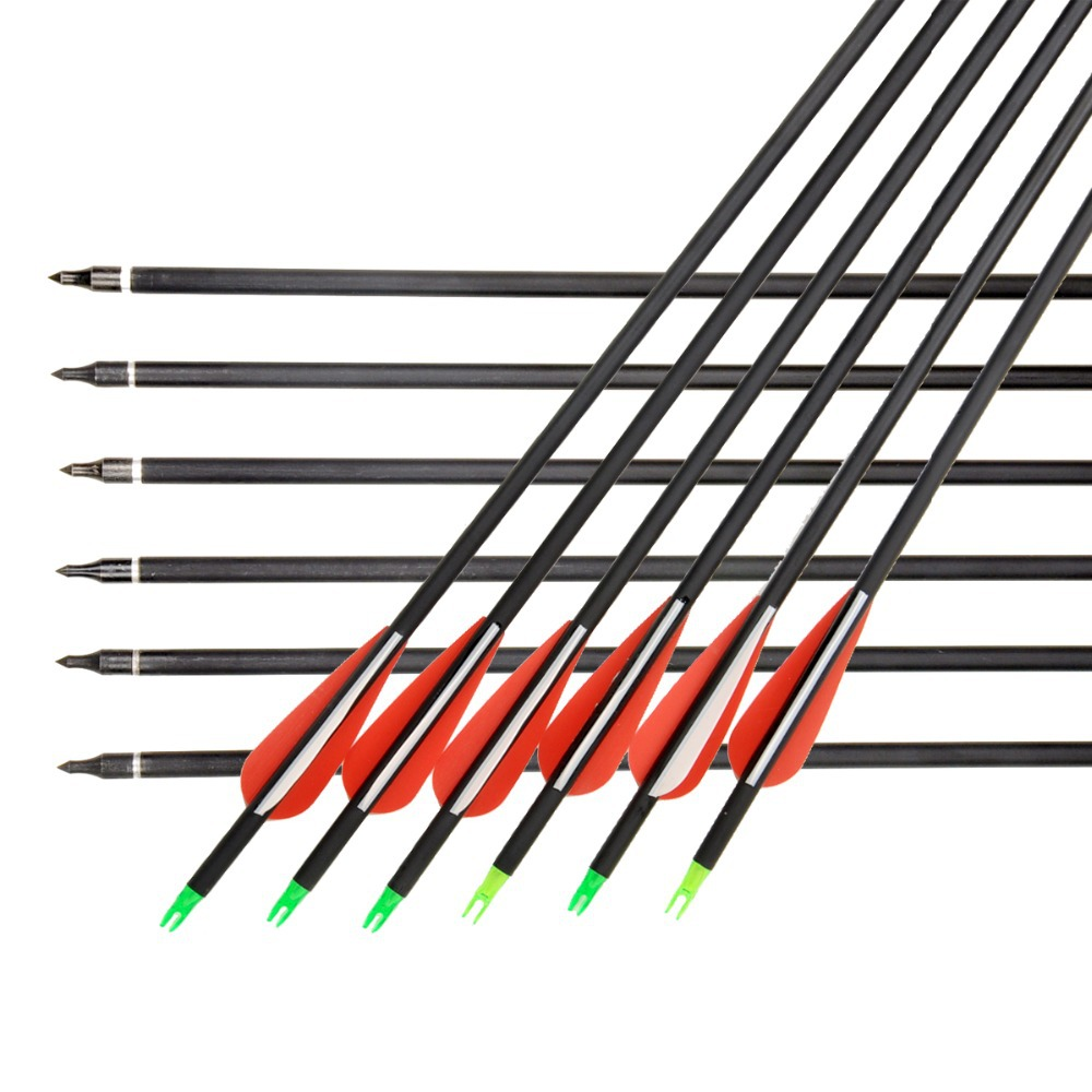 2015 Hot Sell Carbon Arrow 12 Pcs 30 Archery Arrows with Changeable Arrowheads and Plastic Feathers