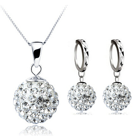 100% Silver 925 Sterling Silver Jewelry Sets Fashion White Shamballa Set for Women Necklace + Earring Solid Silver(China (Mainland))