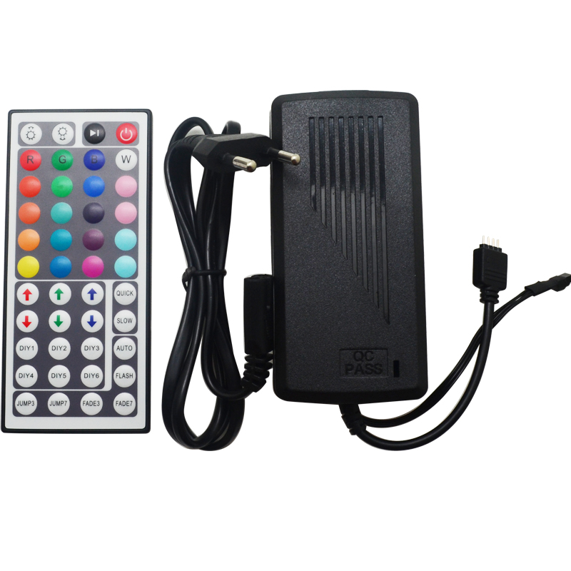 DC12V 44Key Mini IR Remote Controller with Power Adapter RF Remote For Flexible Tape SMD3528 5050 RGB LED Strip Lights(China (Mainland))