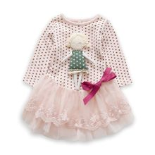 2015 New Autumn Baby Girls Dresses Retail Infant Dress Hot Sale Dot asual Party Baby Dress for 0-2 Years Kid Children Clothing(China (Mainland))