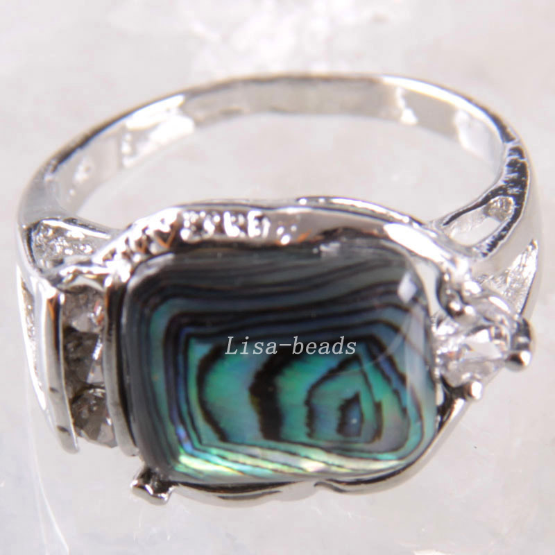 1Pcs Free Shipping Fashion Jewelry Natural Rectangular Blue New Zealand Abalone Shell Ring US 12 Z264(China (Mainland))