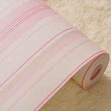 Pink Sriped Wallpaper Roll for Girl Kid Room DZK113 papel de parede pink Decor bedrooms(China (Mainland))