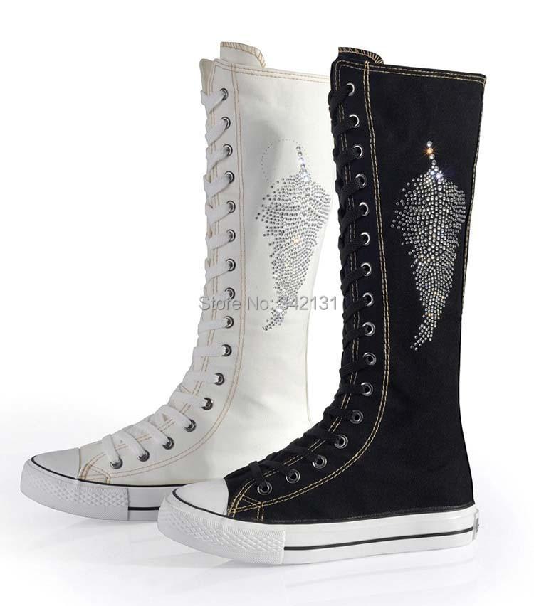 New Fashion Ladies Girls Canvas Boots Women Punk EMO Knee
