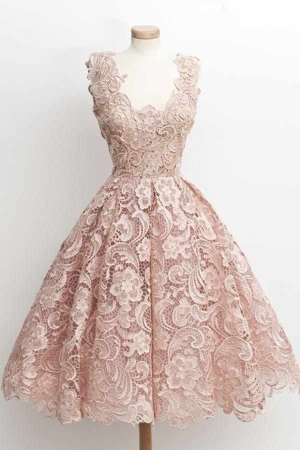 2016 New Hot Sale Cocktail Dresses A Line V Neck Lace Vintage Party Dresses In Cocktail Dresses