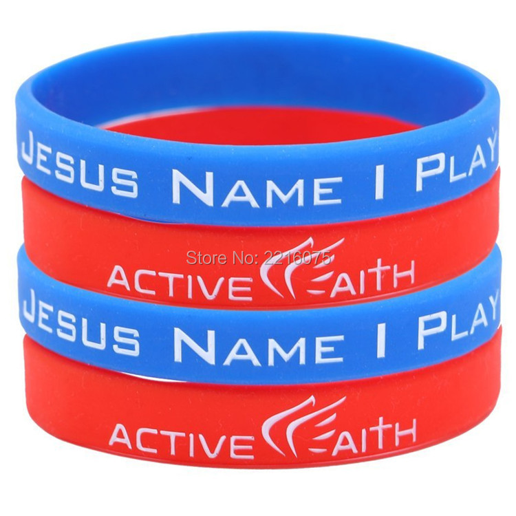 30pcs red and blue IN JESUS NAME I PLAY wristband silicone bracelets free shipping(China (Mainland))