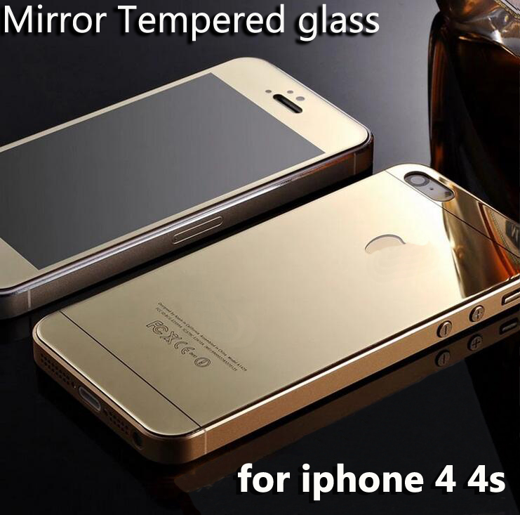 hot sale colorful tempered glass for iphone 4 s 4s full cover screen protector mirror effect protective film front and back(China (Mainland))