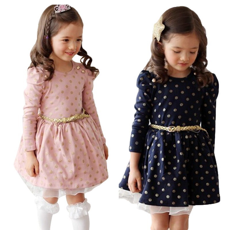 2016 Summer Long Sleeve Girls Dress Polka Dot Dresses Girls Brand Baby Clothing Kids Clothes Party Costume for Toddler Pink(China (Mainland))
