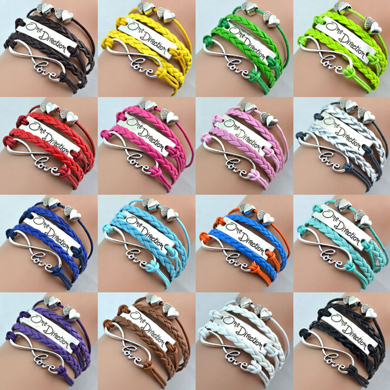 Promotion Jewelry One Direction Fashion Multicolor Multi-layer Double Heart Love Charm Leather Bracelets For Women and Men(China (Mainland))