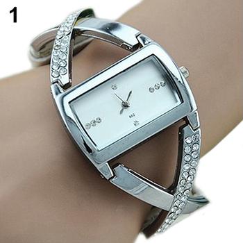 Hot Womens Crystal Rhinestone Stainless Steel Dress Watch Accent PU Leather Strap Analog Quartz 4ZSU