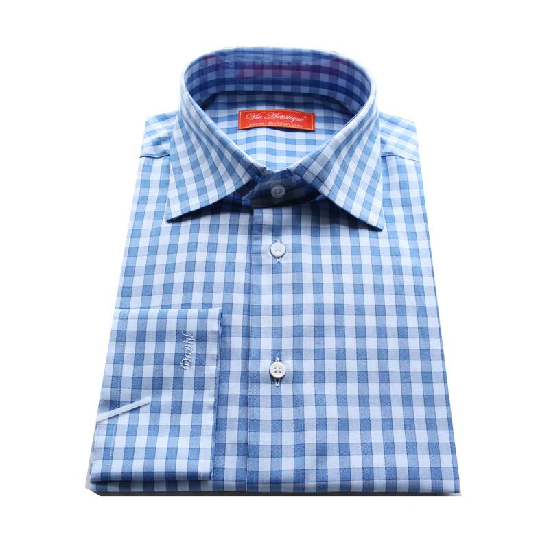 blue plaid man's custom tailor made business casual Dress Shirt bespoke MTM yarn cotton blouse italy brand fabric free shipping(China (Mainland))