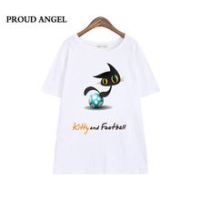 2016 New Summer O-Neck T Shirt Cat printing Cotton Fashion T-Shirt Cute Kitty and football Short