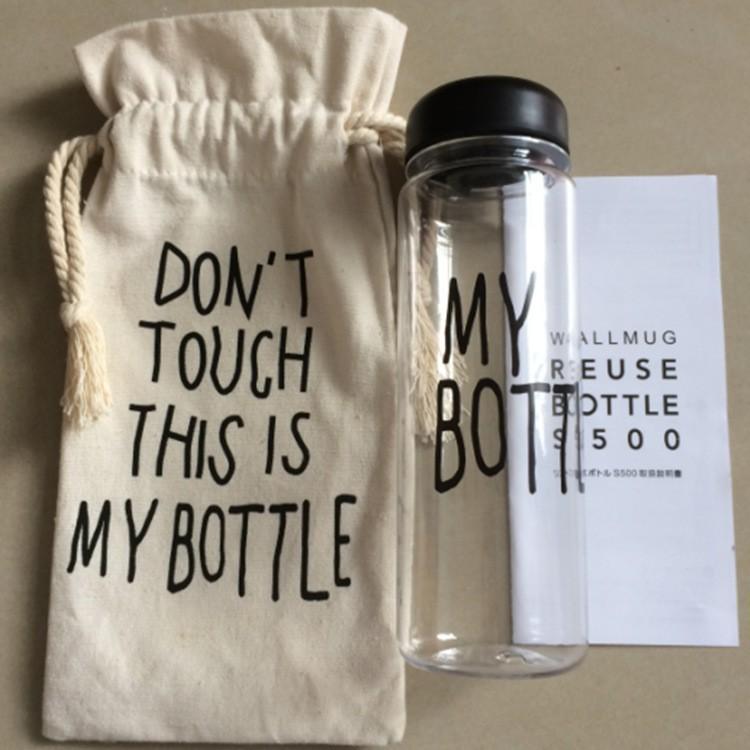 Hot ! ! plastic sports water bottle Garrafa de agua Stylish simplicity my bottle 500 ml whey protein my bottle with bag(China (Mainland))