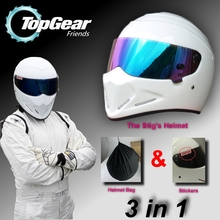 For TopGear The STIG Helmet Capacete Casco De / Bag + SIMPSON Sticker For Gifts / White Moto Helmet with Colorful Visor Racing(China (Mainland))