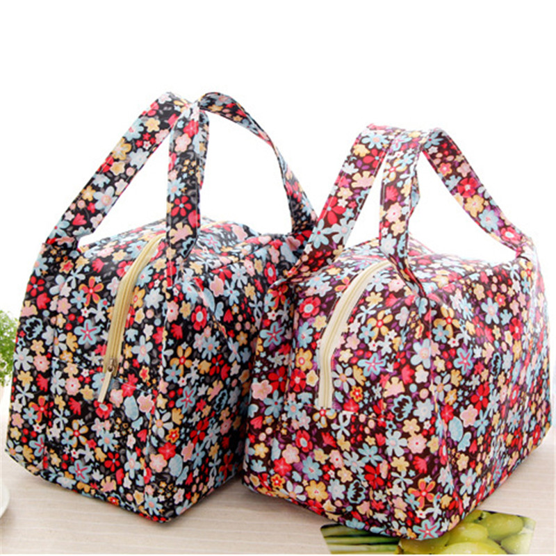 2016 Fashion New Brand Lunch Bag Flowers Insulated Thermal Pouch Storage Box Bento Cooler PicnicTote MN563(China (Mainland))