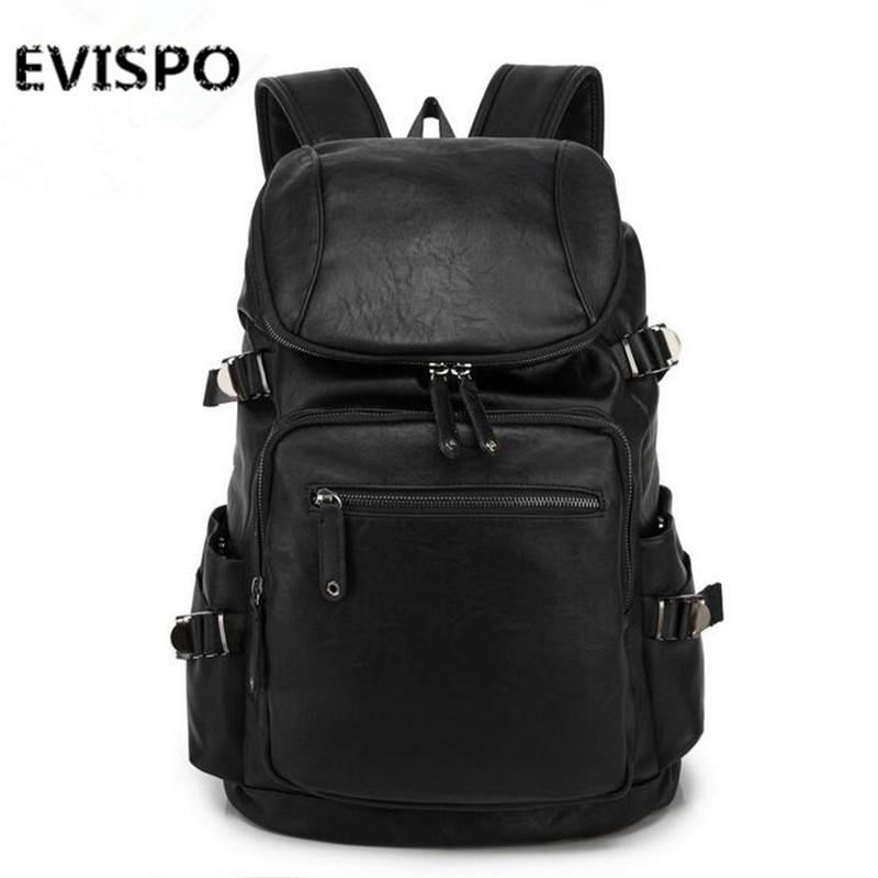 Designer men leather backpack high quality black famous brands laptop bag school bags for teenagers men travel bags vintage(China (Mainland))