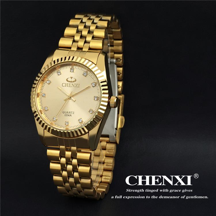 Man Business Watches Famous Brand CHENXI Full Steel Strap Dress Quartz Wrist watches Sport Watch for Men Gold Watches
