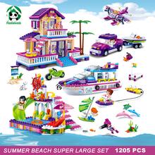 Super Large 1205pcs Summer Beach Building Blocks Set Dolphin Cruiser Villa Friends 7 Figures Toy Bricks Compatible with lego