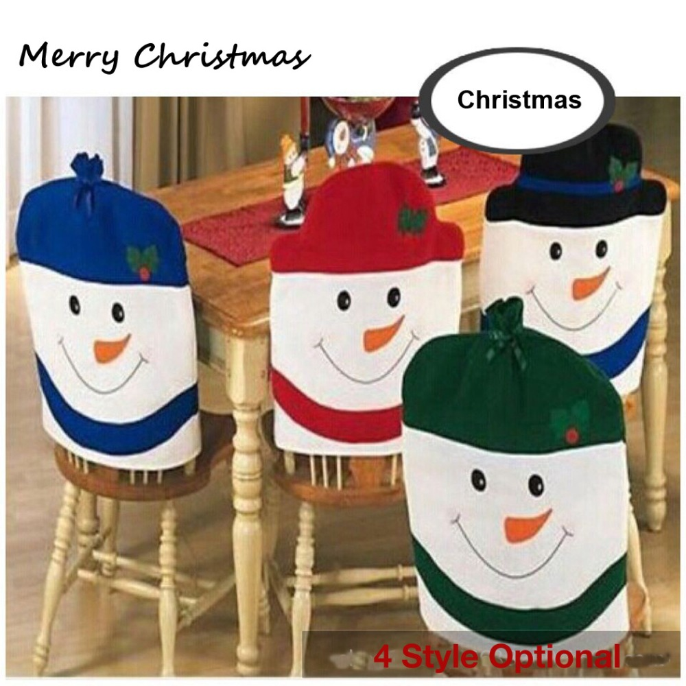 2016 new 4pcs Lovely snowman Christmas chair covers, 4 color snowman optional, new year decoration, ornament(China (Mainland))