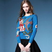 Wholesale Blusas De Inverno Winter Feminina 2016 Pullover Sweaters Round Collar Embroidery Flower Oversized Sobretudo Feminino(China (Mainland))
