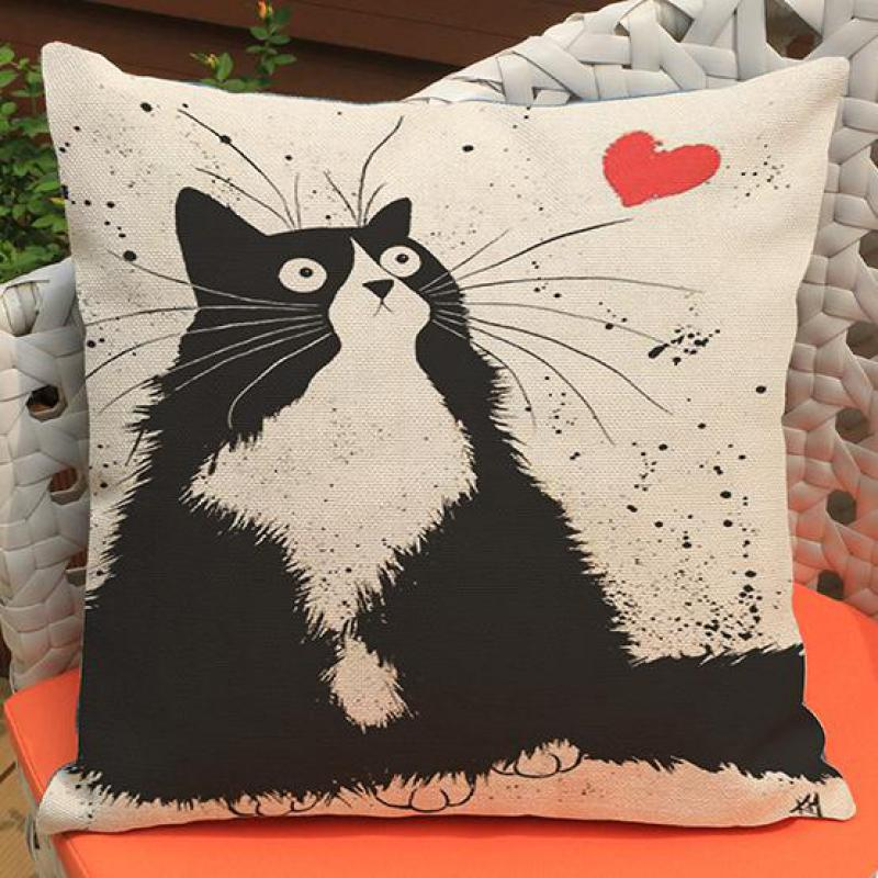 Factory Direct Supply 2016 New Cute Cartoon Cat Printing Short Soft Plush Throw Pillow Cushion Headrest For Kids Gift(China (Mainland))