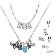 Hot Silver Plated Thin Chain Multilayer Necklaces With Interchangeable DIY Letters Turquoise Butterfly Owl Star Moon Pendants(China (Mainland))