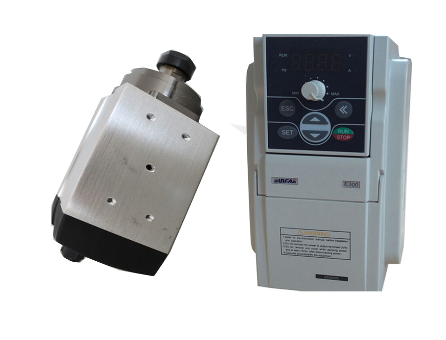 1.5kw ER20 220VAC Air cooled spindle motor & 2.2kw 380V VFD inverter AC drive for CNC engraving(China (Mainland))