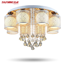 2017 New Round LED Crystal Ceiling Light For Living Room Indoor Lamp with Remote Controlled luminaria home decoration(China (Mainland))