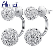 Almei Cute White Crystal Earrings 925-Sterling-Silver Women Jewelry Fashion Red Double Ball Black Earring Flower Brincos Ulove(China (Mainland))