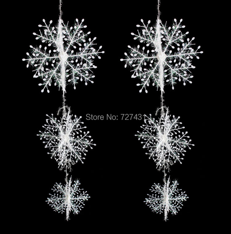 Christmas decorations, snowflake, three-dimensional shutters snowflake string of six sets of Large,80g/lot(China (Mainland))