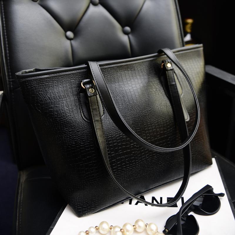 2016 New Ariive women handbag female fashion large tote big simble black bag single shoulder bag big casual shopping bag(China (Mainland))