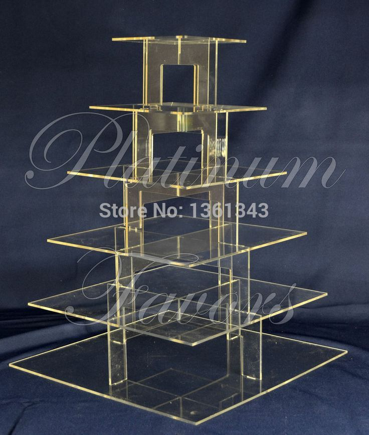 Free shopping/6 Tier Square Wedding birthday party decoration of tray Plexiglass Cup Cake Stand(China (Mainland))