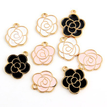 Buy 10pcs White Pink Black Enamel Rose Charm Pendants Gold Color Alloy beads Jewelry Finding for $1.36 in AliExpress store
