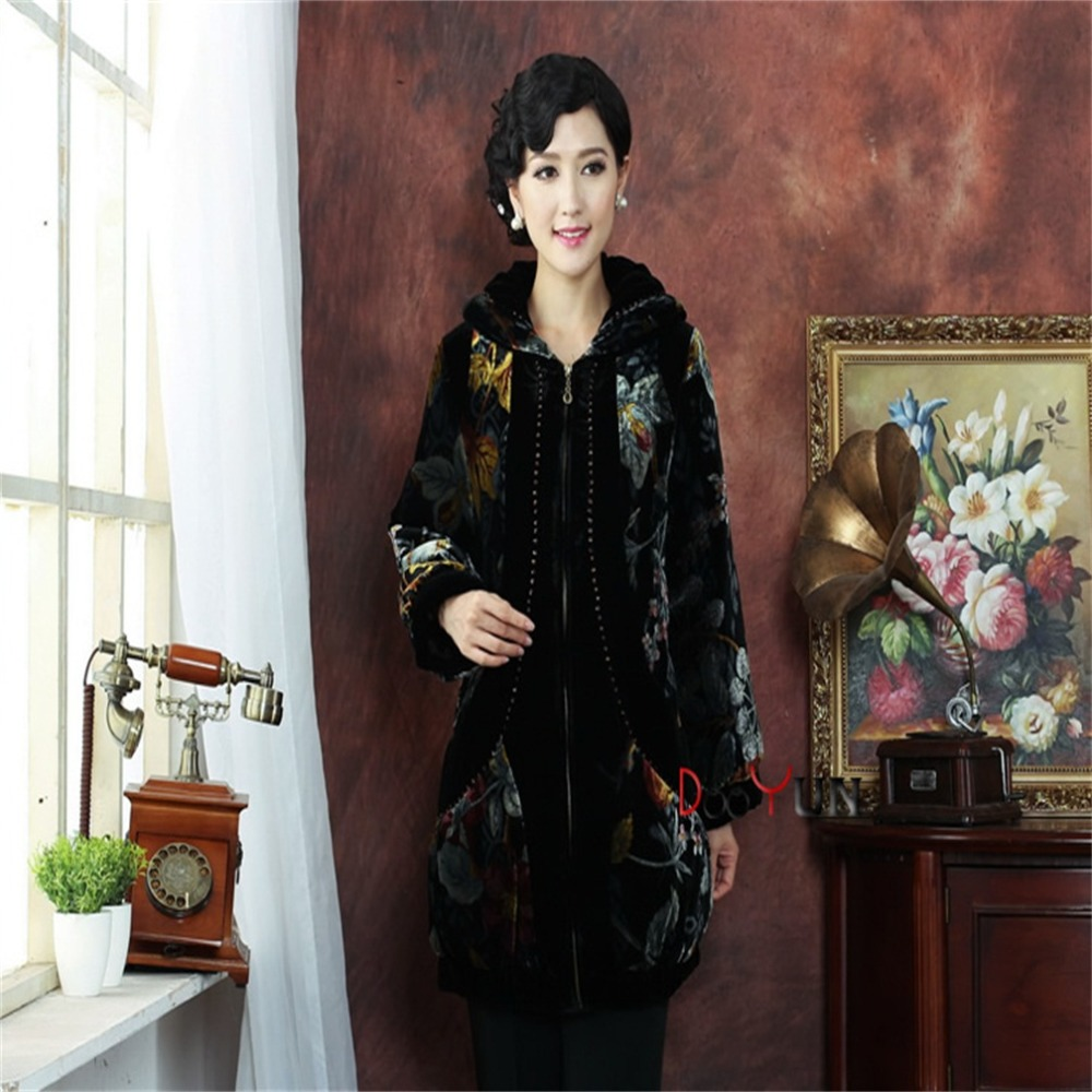 High Fashion Black Chinese Tradition Middle-aged Womens folk-custom Wadded Jacket Zipper Tang Suit Outerwear M L XL XXL 3XL 4XLОдежда и ак�е��уары<br><br><br>Aliexpress