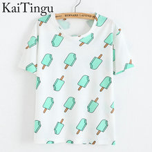 KaiTingu Brand 2016 New Fashion Vintage Summer Style Harajuku T Shirt Women Clothes Tops Emoji Funny Tee Shirts Ice Cream Print(China (Mainland))